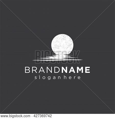 Lunar Moon Logo With Silhouette Of Moon Shadow On Water Design Vector