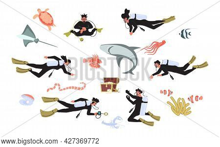Set Of Deep And Scuba Diving People And Underwater Animals.