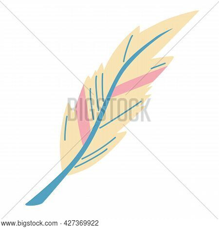 Cute Feather. Tribal Design Elements In Pale Colors. Ideal Style For Cards, Website Design, Logo, Bi