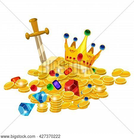 Set Of Treasure Gold Coins, Crown, Gems, Sword, Jevels, Diamonds. Ancient Fantasy Pile Gold Luxury.