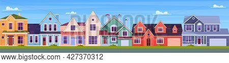 Modern Cottage House Set. Cottage Real Estates Cute Town Concept. Vector Illustration In Flat Style