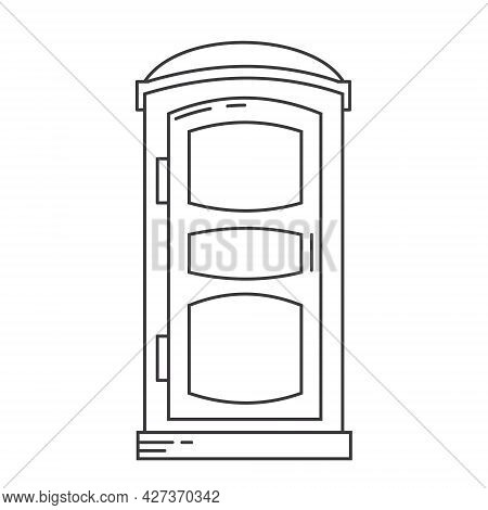 Mobile Portable Bio Toilet Outline Icon. Front View. Blue Plastic Closet Wc. Vector Iillustration Is