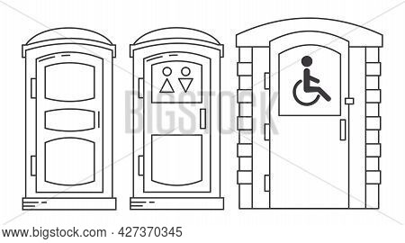 Mobile Portable Bio Toilet. Toilet For Disabled People. Set Of Outline Icon. Front View. Blue Plasti