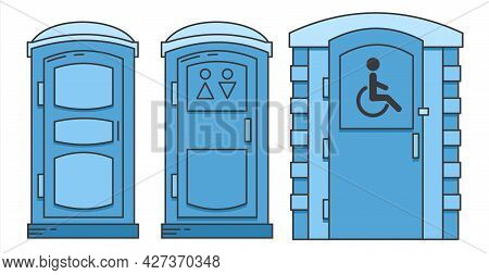 Mobile Portable Bio Toilet. Toilet For Disabled People. Set Of Icon. Front View. Blue Plastic Closet