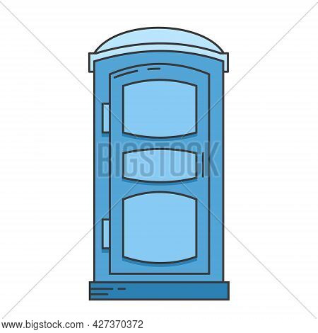 Mobile Portable Bio Toilet Icon. Front View. Blue Plastic Closet Wc. Vector Iillustration Isolated O