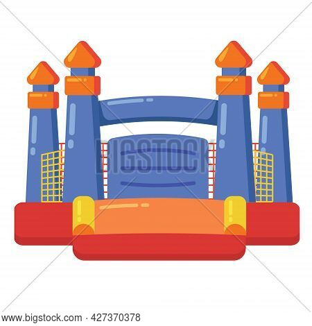 Bouncy Inflatable Castle. Tower And Equipment For Child Playground. Vector Flat Cartoon Illustration