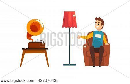Garage Sale, Man Sitting In Armchair Selling Gramophone And Lamp At Flea Market Cartoon Vector Illus