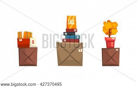 Garage Sale, Old Unnecessary Things, Boxes With Old Stuff At Flea Market Cartoon Vector Illustration