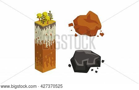 Geological Symbols Set, Stratigraphic Columns With Cut Of Soil Set, Black And Brown Mineral Stones C