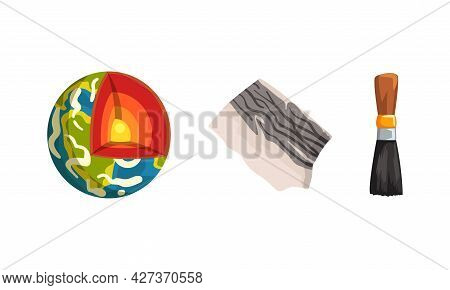 Geological Mining Industry Symbols Set, Earth Structure With Layers Cartoon Vector Illustration