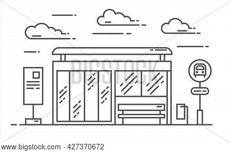 Bus Stop Vector Line Art Illustration. Exit From The Subway. Vector Outline Illustration Isolated On