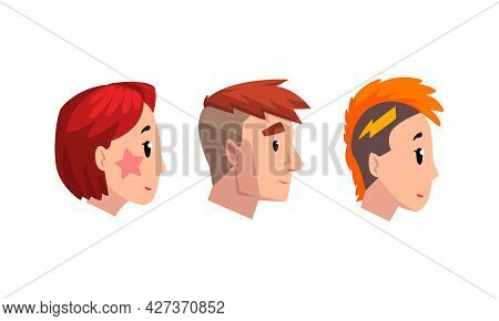 Profile Male And Female Portraits Set, Man And Woman With Various Modern Haircuts Cartoon Vector Ill
