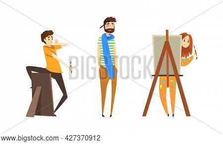 People Of Creative Professions Set, Sculptor And Artist Working On Masterpieces Cartoon Vector Illus