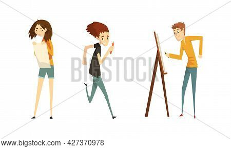 People Of Creative Professions Set, Talented Painters And Artists Characters Cartoon Vector Illustra