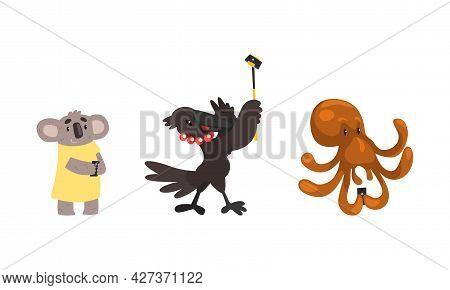 Funny Animals Using Modern Gadgets Set, Koala Bear, Octopus, Crow With Smartphones Cartoon Vector Il