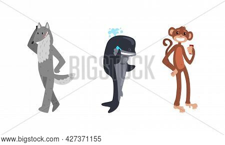 Funny Animals With Modern Gadgets Set, Monkey, Whale, Wolf Using Smartphones Cartoon Vector Illustra