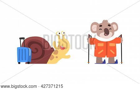 Funny Animals Traveling On Vacation Set, Amusing Snail Crawling With Suitcase, Koala Bear Skiing Car