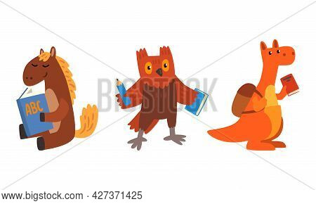 Amusing Animals Learning At School Set, Horse, Owl And Kangaroo Reading And Writing At Lesson, Schoo