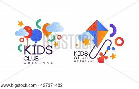 Kids Club Logo Original Set, Playground, Game Area Labels, Emblems Collection Flat Vector Illustrati