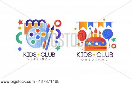 Kids Club Logo Set, Party For Children, Playground, Game Area Labels, Badges Flat Vector Illustratio
