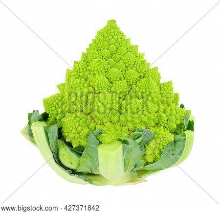 Fresh Romanesco Cauliflower Or Broccoli Isolated On A White Background
