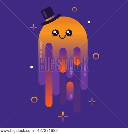 Cute Halloween Ghost With A Hat. Illustration On Violet Background.