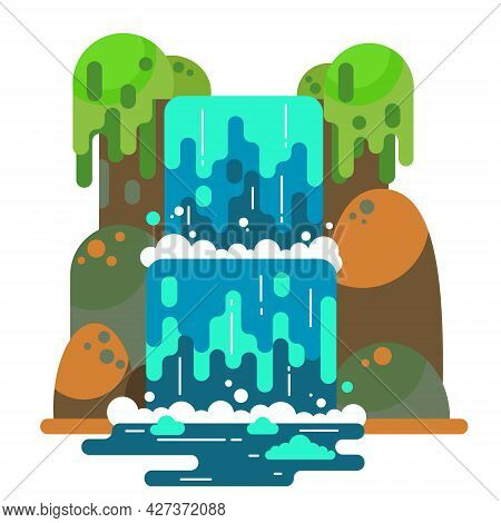 Waterfall Landscape. Mountain River With Cascade. Vector Flat Cartoon Illustration Isolated On White