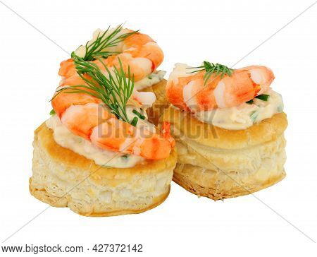 King Prawn Puff Pastry Vol Au Vents With Salmon Flavoured Cream Cheese Filling Isolated On A White B