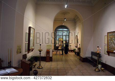 Russian Orthodox art gallery and icon shop in Kiev, Ukraine July 18,2021