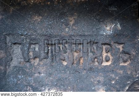 ILLUSTRATIVE EDITORIAL Brick of the 19th century with the remains of a trademark in the Russian language.Legendary Baron's house. Historical building of 19 c. in Kiev, Ukraine July 18,2021