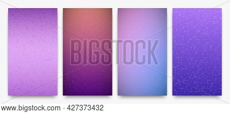 Set Of Four Abstract Gradient Geometric Backgrounds Of Squares. Pixel Backgrounds With Empty Space.