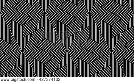 Abstract Geometric Pattern With Stripes, Lines. Seamless Vector Background. White And Black Ornament
