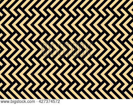 Abstract Geometric Pattern With Stripes, Lines. Seamless Vector Background. Gold And Black Ornament.