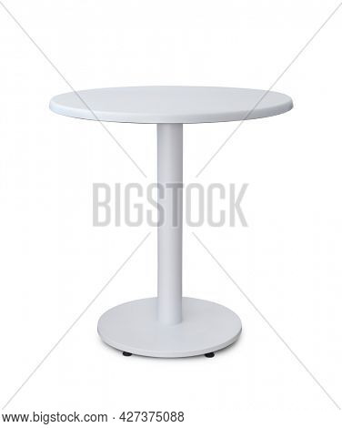 Front view of white round table isolated on white