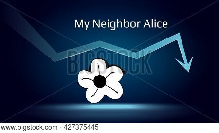 My Neighbor Alice In Downtrend And Price Falls Down. Cryptocurrency Coin Symbol And Down Arrow. Crus