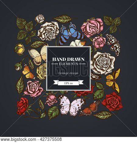 Square Floral Design On Dark Background With Lemon Butterfly, Red Lacewing, African Giant Swallowtai