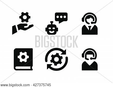 Simple Set Of Help And Support Related Vector Solid Icons. Contains Icons As Chat Bot, Customer Care