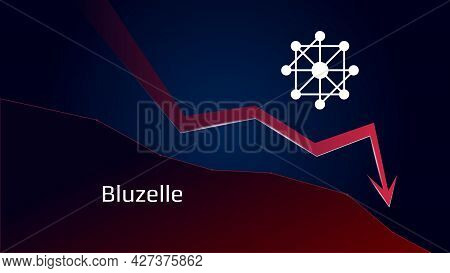 Bluzelle Blz In Downtrend And Price Falls Down. Cryptocurrency Coin Symbol And Red Down Arrow. Crush