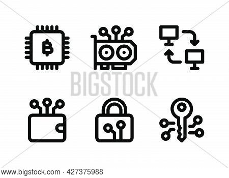 Simple Set Of Crypto Related Vector Line Icons. Contains Icons As Cpu Mining, Peer To Peer, Digital