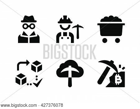 Simple Set Of Crypto Related Vector Solid Icons. Contains Icons As Worker, Mining Cart, Anonymous An