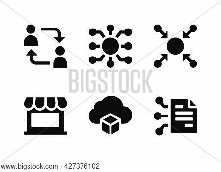 Simple Set Of Crypto Related Vector Solid Icons. Contains Icons As Decentralized, Centralized, Smart