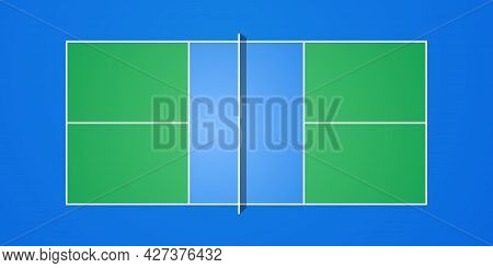 Pickleball Court With Official Dimentsions. Top View Vector Illustration. Proportional Size.