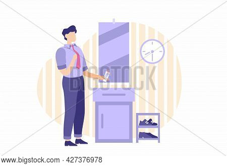 Man Is Going To Work. Male Character Gets Dressed For Trip To Office In Front Of Mirror. Perfume In