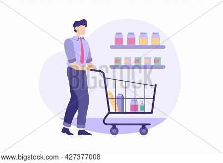 Man Buys Groceries After Work. Male Character In Business Suit Is Carrying Food Cart. Shelves With C