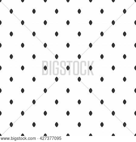 Seamless Pattern With Black Strokes Or Seeds On White Background. Ethnic Symmetric Background. Rhomb
