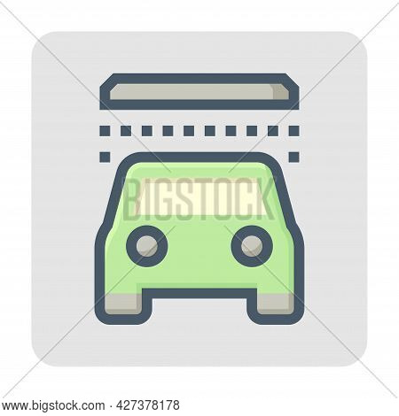 Automatic Or Drive Thru Car Wash Vector Icon. Express Car Care Service Consist Of Water Spray Or Pou