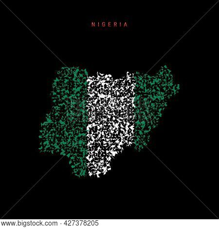 Nigeria Flag Map, Chaotic Particles Pattern In The Colors Of The Nigerian Flag. Vector Illustration