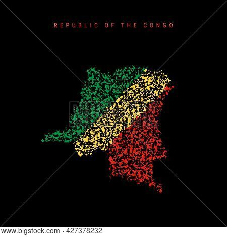 Republic Of The Congo Flag Map, Chaotic Particles Pattern In The Colors Of The Congolese Flag. Vecto