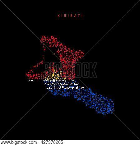 Kiribati Flag Map, Chaotic Particles Pattern In The Colors Of The Republic Of Kiribati Flag. Vector