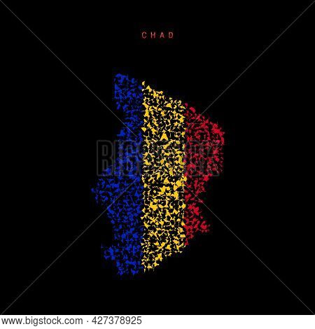 Chad Flag Map, Chaotic Particles Pattern In The Colors Of The Chadian Flag. Vector Illustration Isol